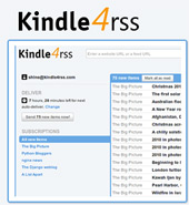 Kindle4rss další služba pro zasílání RSS zdrojů do čtečky Amazon Kindle