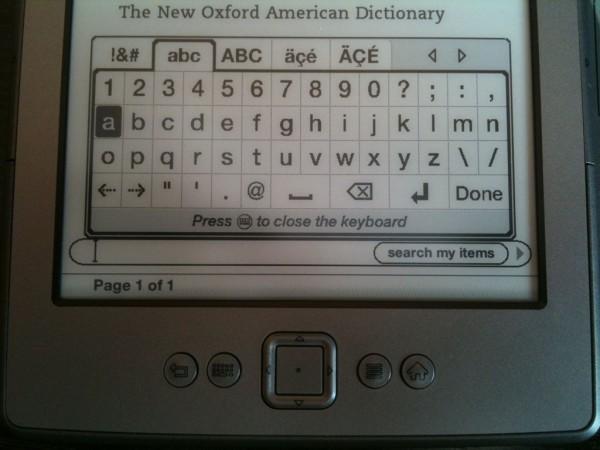 Virtuální klávesnice Amazon Kindle 4