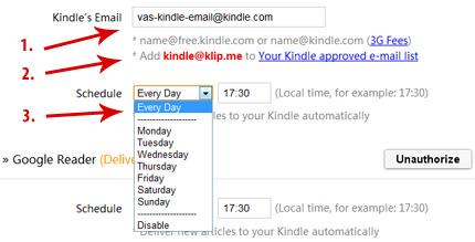 Nastavení Klip.me pro Amazon Kindle