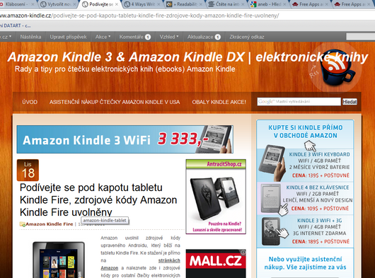 Amazon Kindle Touch, Kindle Fire, readability