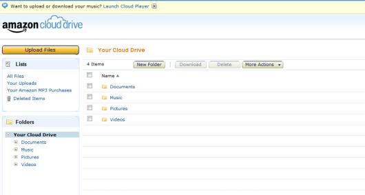 Amazon Cloud Drive webové rozhraní