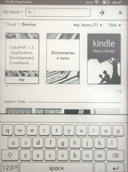 Kindle Paperwhite klávesnice