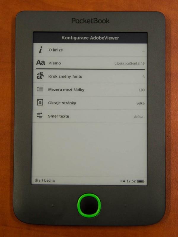 PocketBook Mini a nastavení písma atd.