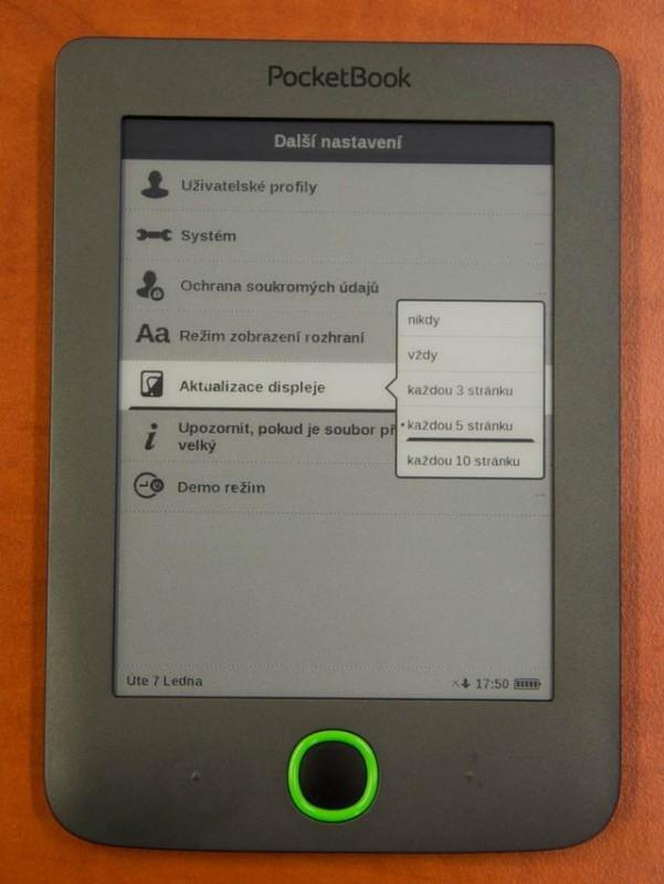 PocketBook Mini nastavení krekreslování displeje