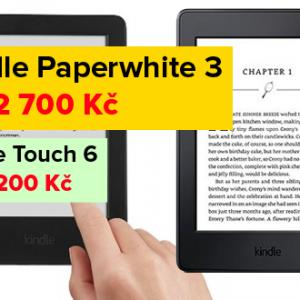 Kindle Paperwhite 3 za 2 700 Kč, Kindle Voyage za 4 500 Kč a Kindle Touch 6 za 1 200 Kč - SUPER AKCE