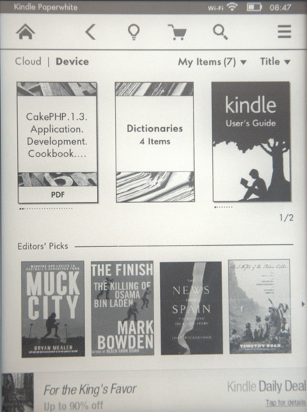 Rozložení úvodní stránky Kindle Paperwhite