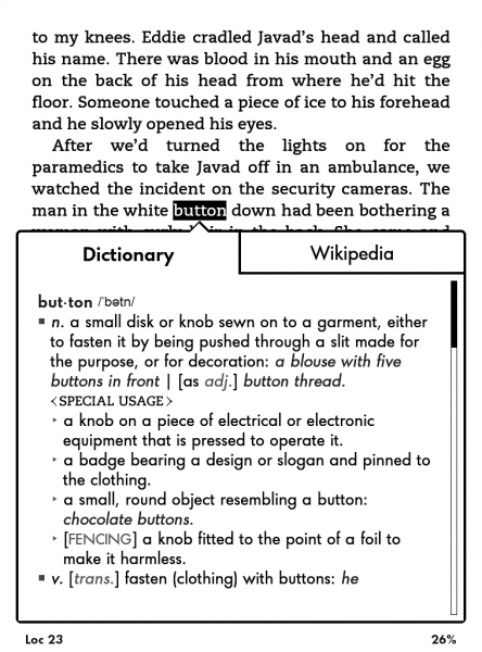 Kindle Paperwhite slovo a jeho výklad z anglického slovníku