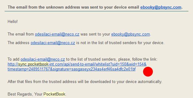 Potvrzeni prijimani dokumentu ze Send To PocketBook
